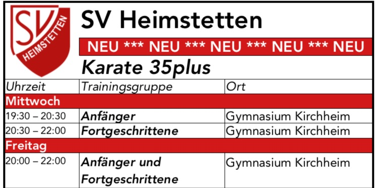 Trainingsstart Karate 35plus - Trainingszeiten