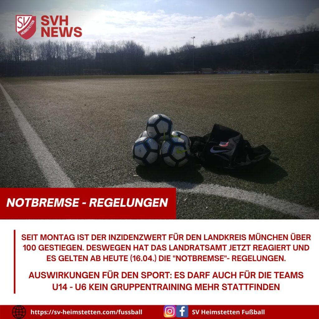 """Jugend: """"Notbremse""""- Regelungen schränken den Trainingsbetrieb weiter ein"""
